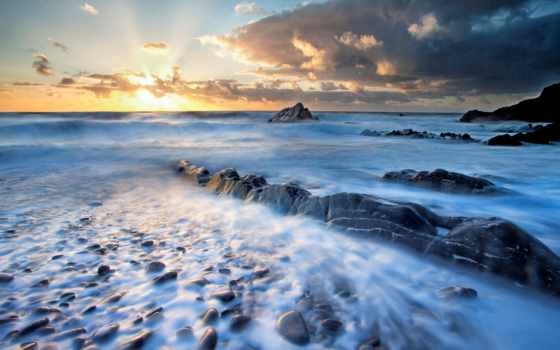 природа, landscape, море, water, reka, камни, волна, sun, закат,