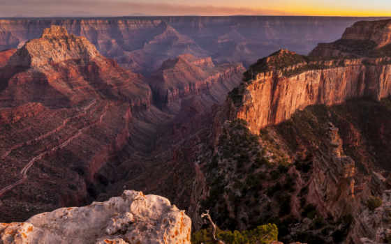 каньон, grand, rim, usa, elevation, north, arizona, this, деревня, shows,