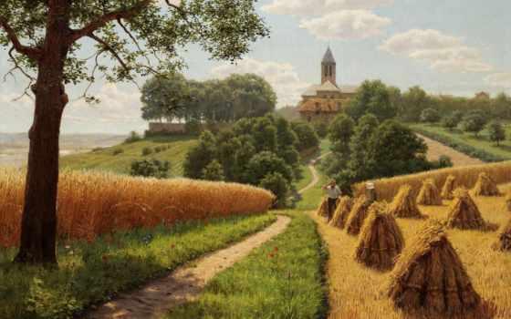 рисунок, пшеница, landscape, поле, нива, szhatyi, grove, goal, water, туман, сырость