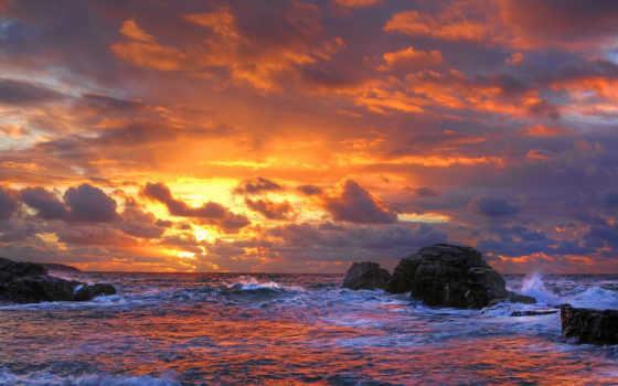 закат, море, surf, камни, красивый, красивые, pictures, pin, небо,