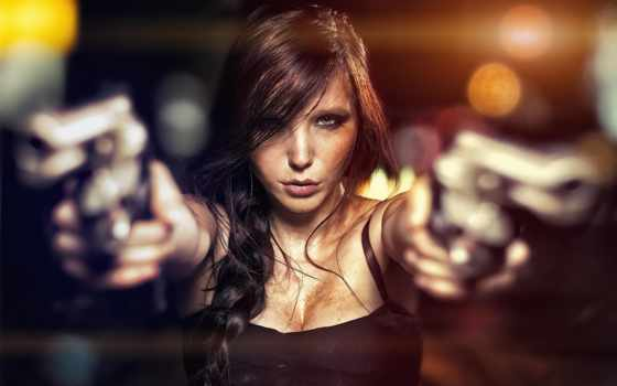 devushki, девушка, оружием, пистолетами, милитари, двумя, фотографий,