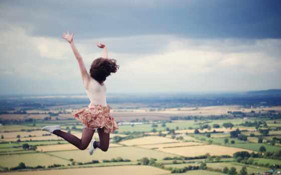обои, девушка, прыжок, юбка, волосы, поля, облако,