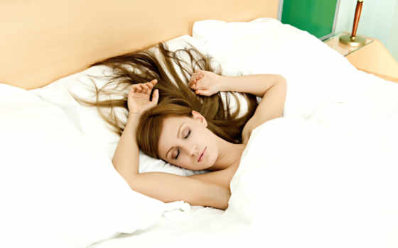 спит, devushka, кровать, подушки, art, волосы, son, лежа,