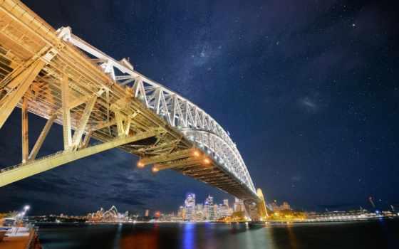 sydney, город, австралия, мост, города, гавань, огни,