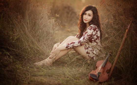 женщина, sitting, трава, скрипка, девушка, desktop, views, free,