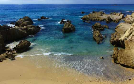 моря, средиземного, пляж, песком, камнями, крупными, море,