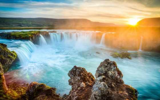 водопад, iceland, godafoss, рассвет, природа, sun, гора, закаты,