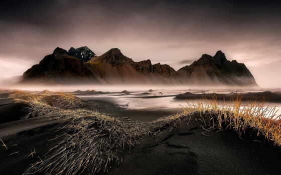 iceland, пляж, исландия, песок, black, чёрный, stokksne, мыс, песок, stoksnes, reynisfjara