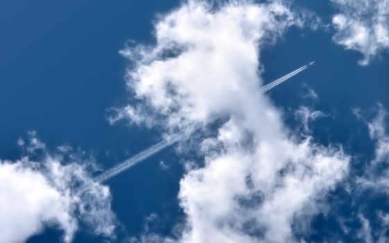 самолёт, облака, след