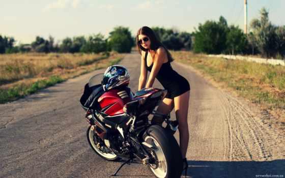 devushka, мотоцикл, дорога