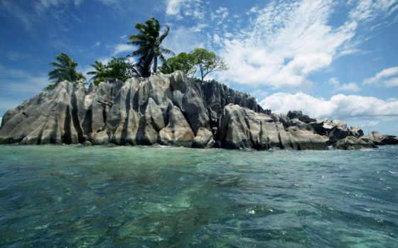 пальмы, камни, ocean, море, скалы, острова, природа, остров, seychelles, сейшельские, oblaka,