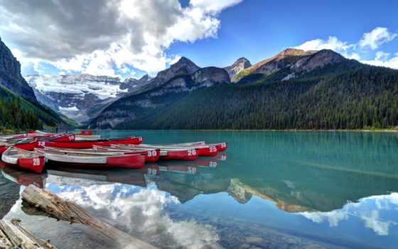 озеро, louise, park, канада, альберта, desktop, banff, ski,