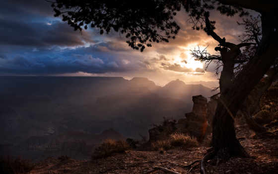 закат, солнца, каньон, гранд, мин, января, rising, природа, тучи,