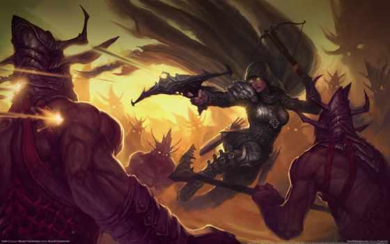 diablo, hunter, демон, iii, видеоигры, демонов, работать, искусства, www, сражения, art,