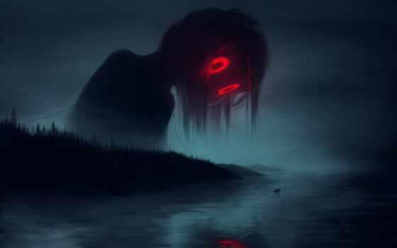 арта, пина, глаз, drawing, доска, user, ужас, река, monster, fantasy, mist
