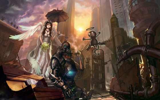 robot, девушка, крылья, piano, art, стимпанк, развалины, angel, зонтик, чертовка,
