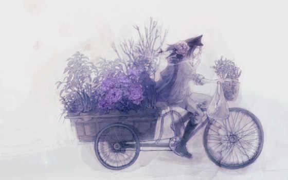 anime, цветы, парень, велосипед, повозка,