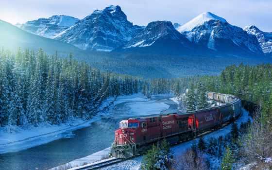канадский, поезд, канада, лес, горы, winter, альберта, река, eli, железная, снег,