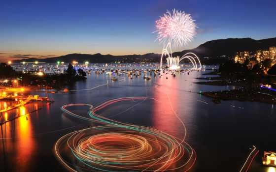 vancouver, celebration, stock, fireworks, english, bay, огни, свет, display, фото,