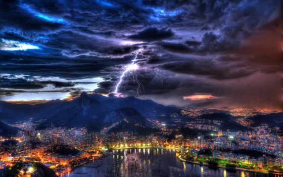 rio, janeiro, ночь, brazil, город, lightning, буря, brazilian, рио,