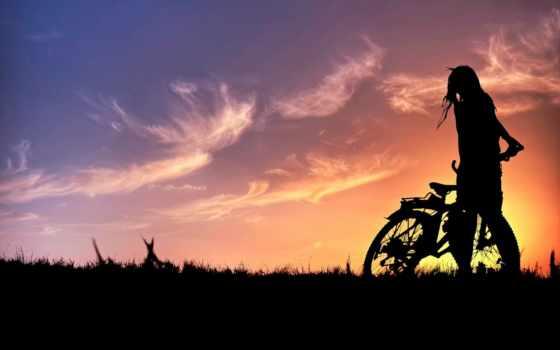 девушка, iphone, devushki, bike, free, mobile, силуэт, sports, велосипедах,