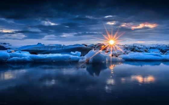закат, природа, небо, winter, снег, oblaka, лед, sun,