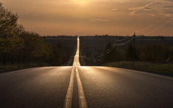 картинка, ночь, дорога, пейзаж, имеет, горизонтали, вертикали,