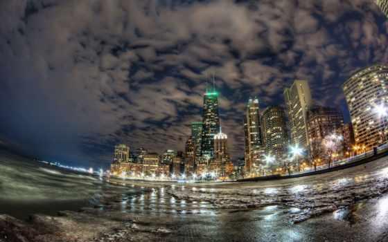 огни, город, chicago