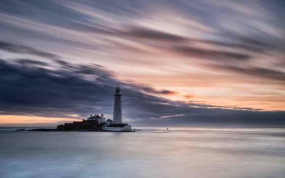 небо, маяк, море