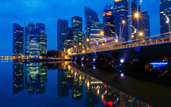 singapore, огни, город