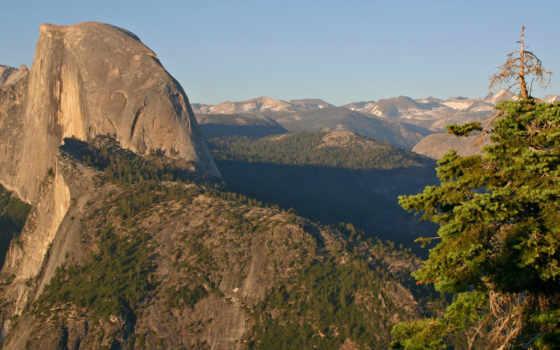 горы, yosemite, glacier, park, national, point, природа, лес, half,