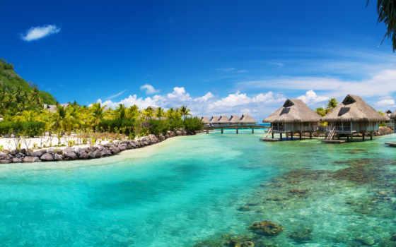 море, ocean, пальмы, bora, домики, tropics, пляж,