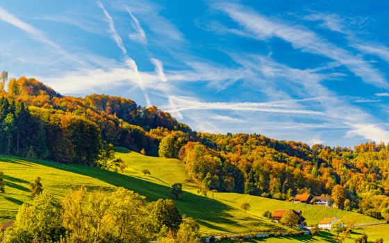 осень, free, дома, trees, images, природа, холмы, top,
