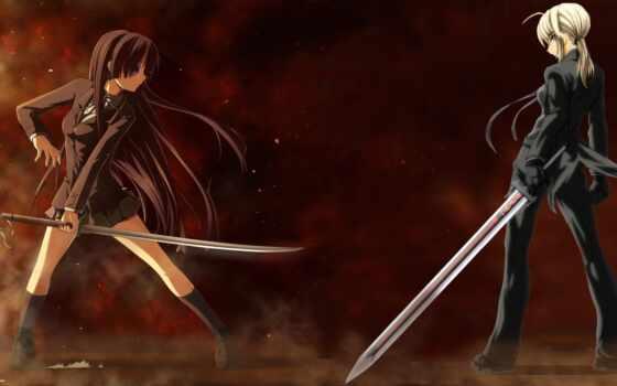 девушки, дуэль, мечи