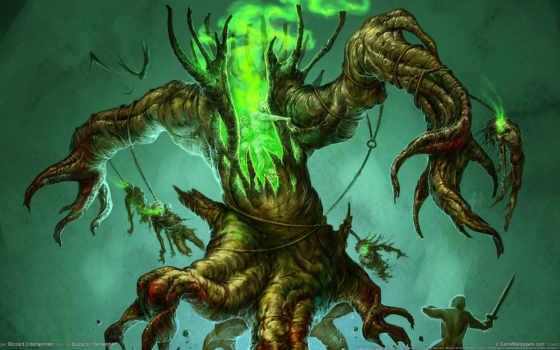 monster, дерево, воин