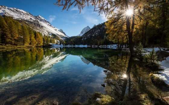 природа, paysage, promienie, automne, bilder, tapety, słońca, fonds, ecran,