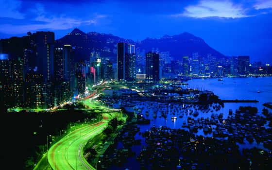hong, качественные, города, красивые, взгляд, architecture, ночные,