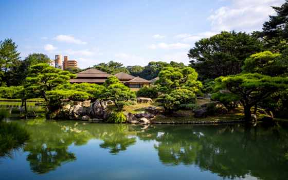japanese, природа, trees, takamatsu, ritsurin, garden, пруд, сады, япония, картинка,