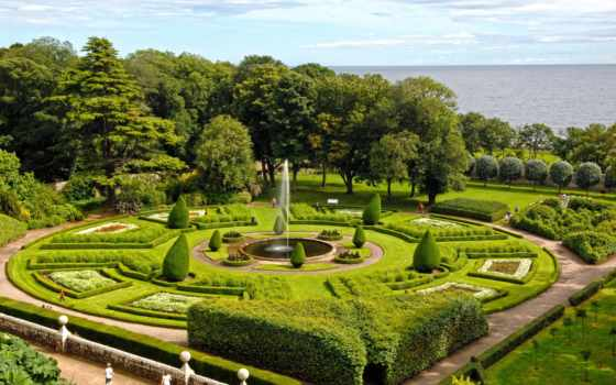 dunrobin, castle, gardens, ук, изображение, park, природа, паркс, фото,