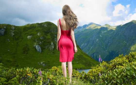 девушка, поза, горы, платье, devushki, картинка, пресс, шатенка, лес, вектор,