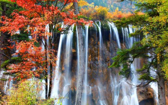 фотообои, осени, плачущий, водопад, лесу, осеннем, заказать, купить, водопадами, водопады, украсят,