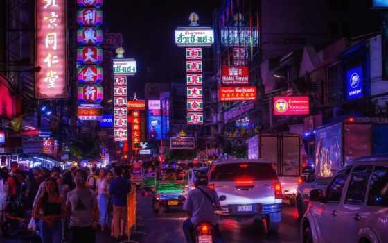 thai, bangkok, город, вечер, чая