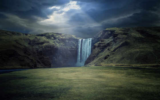 водопад, поле, окно, ночь, ray, гора, природа, коллекция