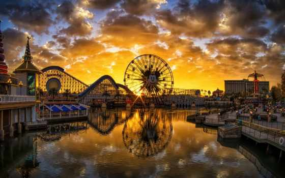 рай, pier, disneyland, california, закат,