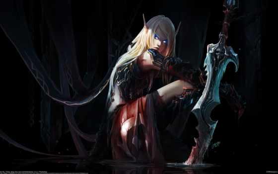 девушка, уши, chenbo, эльфийка, эльф, world of warcraft, меч, арт
