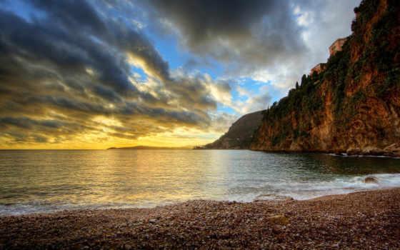 прочитать, more, ocean, галька, пейзажи -, камни, море, дневник, небо, закате, побережье,