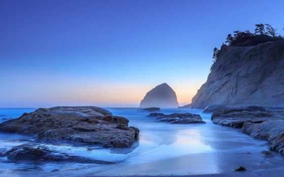 море, сша, ocean, рассвет, скалы, rock, oregon, тихий, закат, journey,