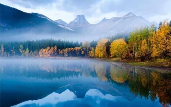 осень, природа, утро, лес, озеро, рыбалка, горы, water, туман, красиво, отражение,
