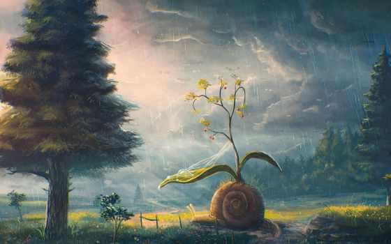 дождь, тучи, лес, bush, snail, fantasy,