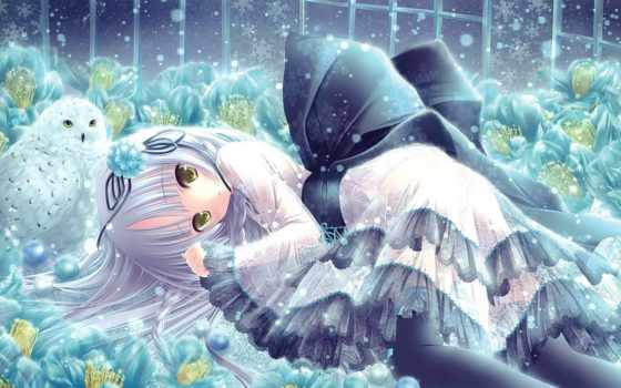 anime, девушка, сова, снежинки, снег, cvety, art,